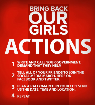 Join Bring Back Our Girls on Facebook for up to the minute info on ways to get involved.