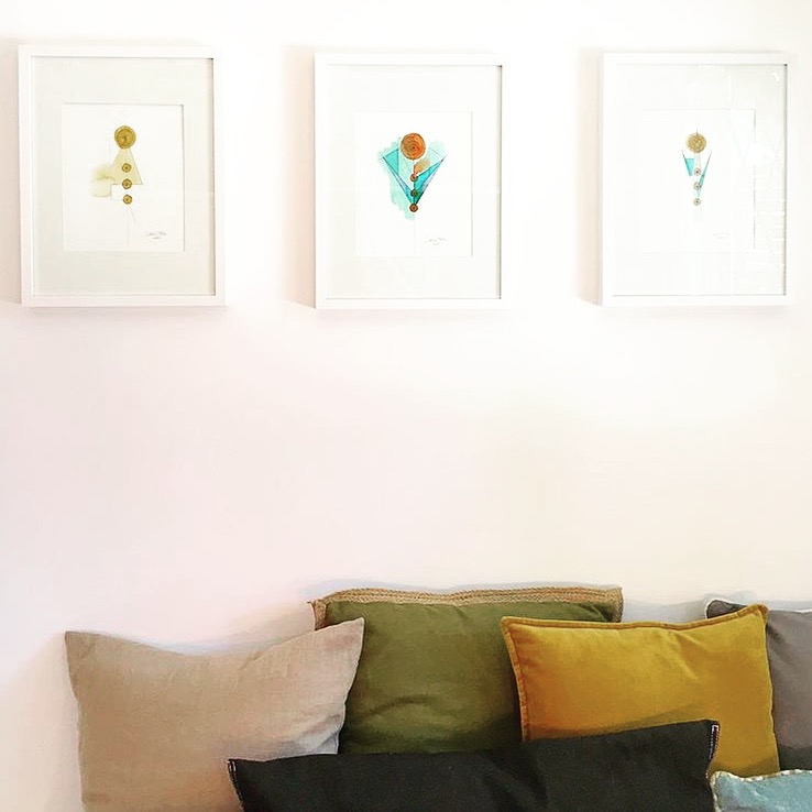 """Three pieces from the """"Totem"""" series, 11""""x14"""" graphite, watercolor, oil pastel on 140lb archival watercolor paper by Lori Fox"""