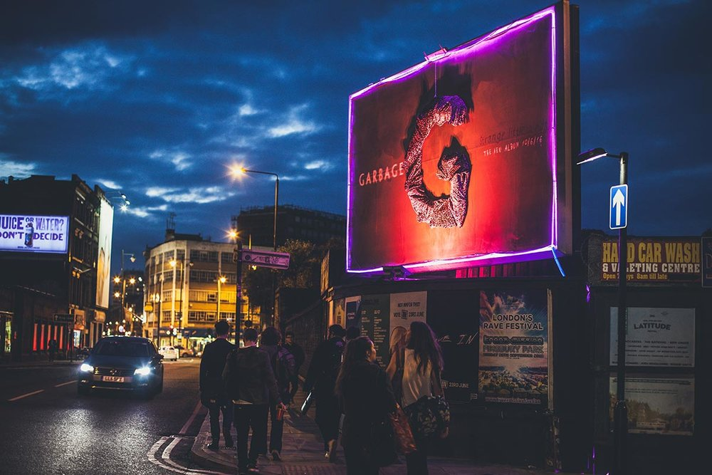 Three dimensional billboard with fluorescent lighting — special build by Diabolical, U.K.