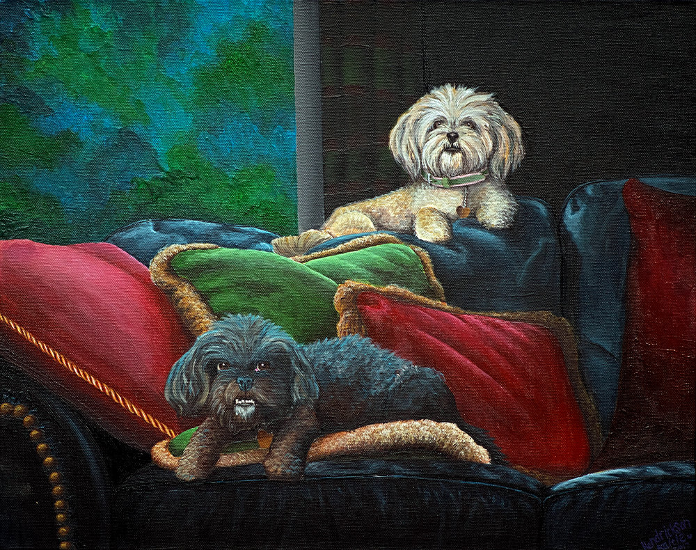 Lily and Hoke - Recent Pet Commission done with acrylic paints on stretched canvas.