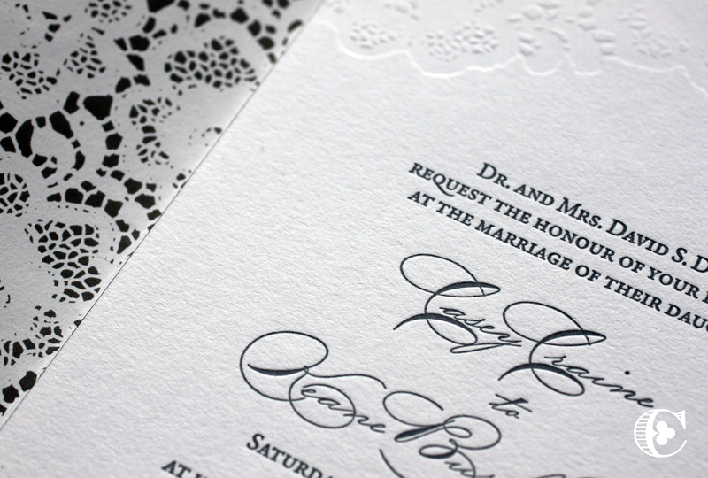 Letterpressed invitations. The lace design at the top is printing with no ink for a soft look. The lace pattern is also used on the liner.