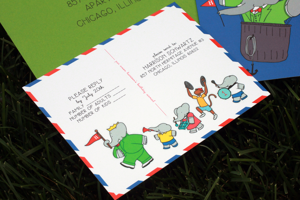 Airmail and Babar & friends RSVP cards