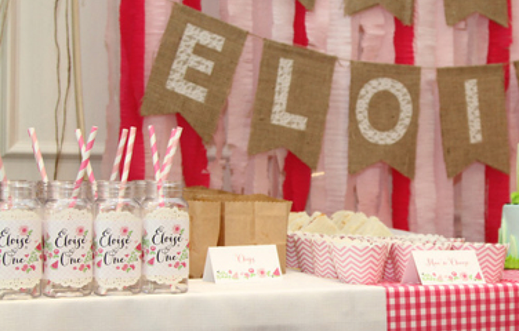 Jar wraps to match the invitations and other party decor! #TheCharmStudio photo credit: The Wise Baby