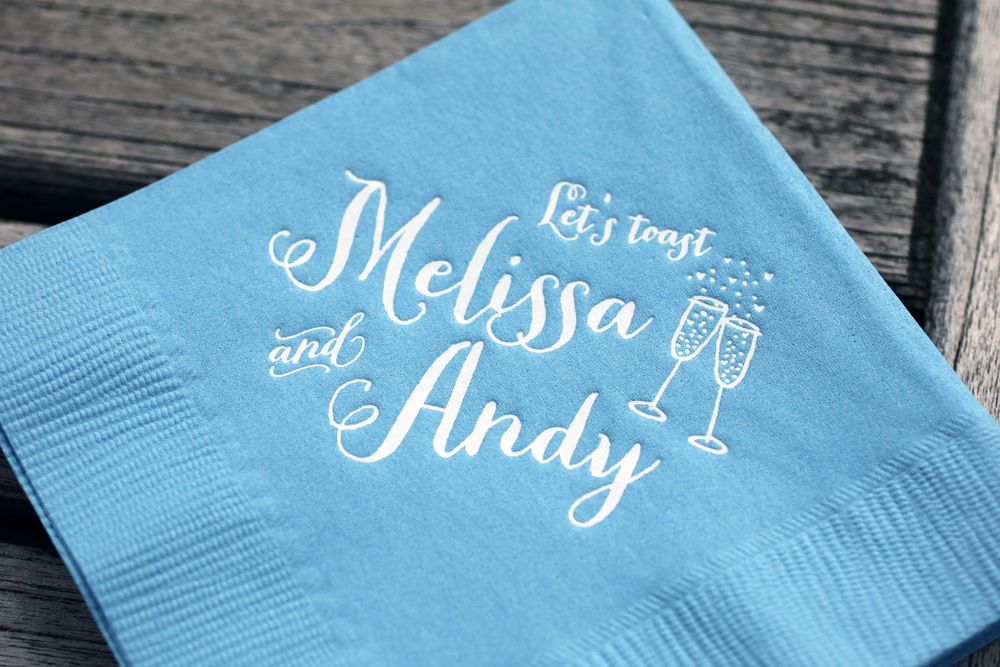 Custom Invitations and napkins by The Charm Studio. www.TheCharmStudio.com