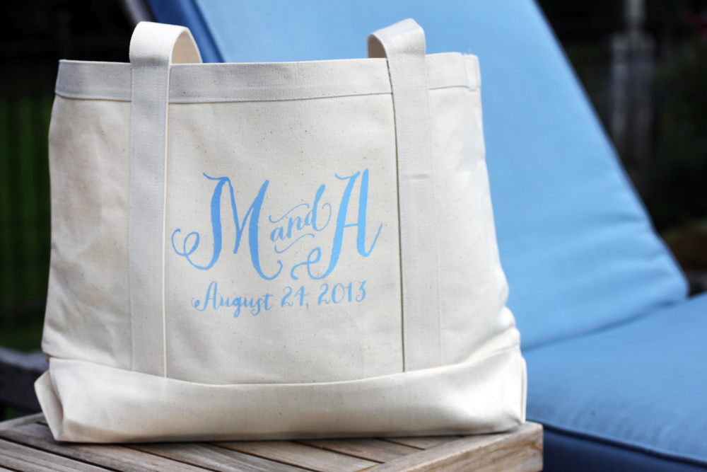 Custom tote bags by The Charm Studio. www.TheCharmStudio.com