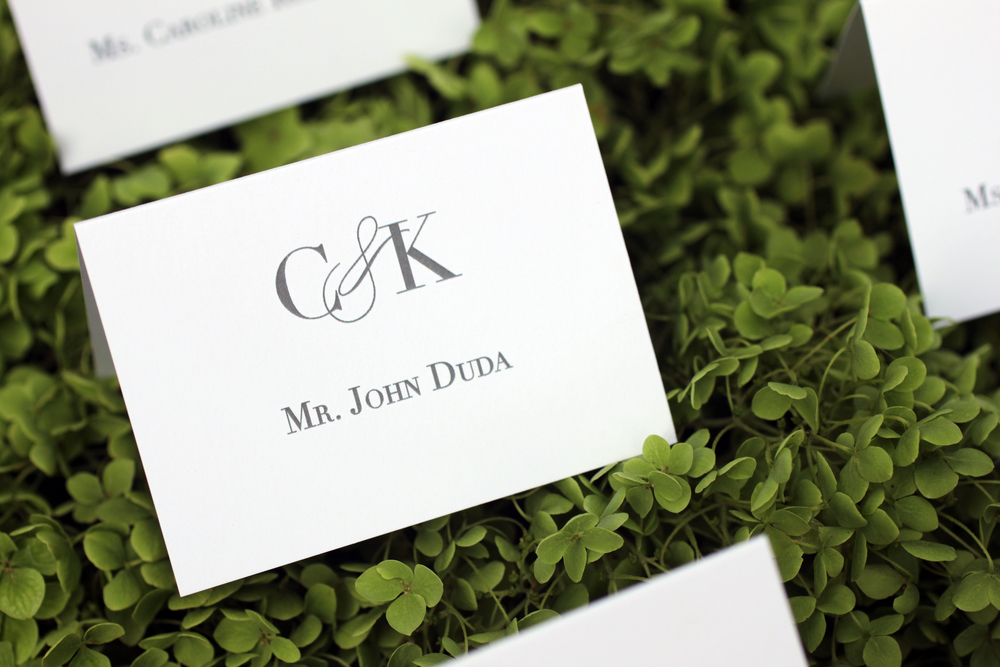 Wedding escort cards by The Charm Studio