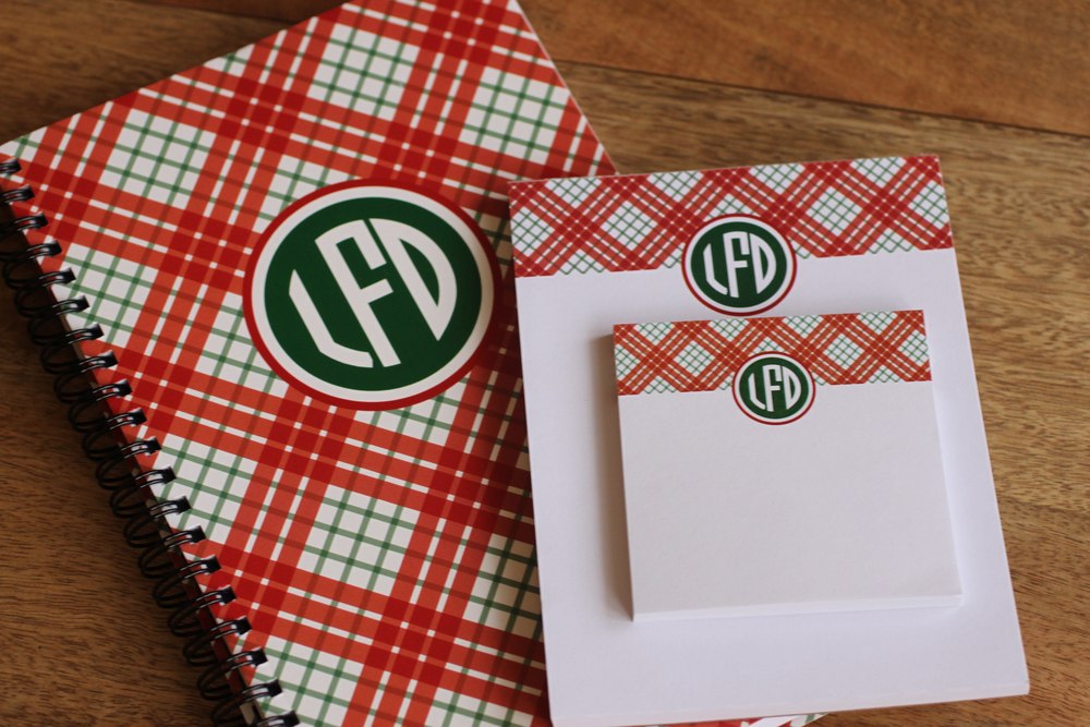Plaid Monogram Notebook, Notepad & Sticky Notes set by The Charm Studio