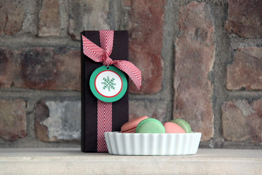 Delightful Pastries on Wells in Old Town has darling red (raspberry) and green (pistachio) macaroons. Add one of my mix and match gift tags with a chevron ribbon for a little holiday touch to the gift.