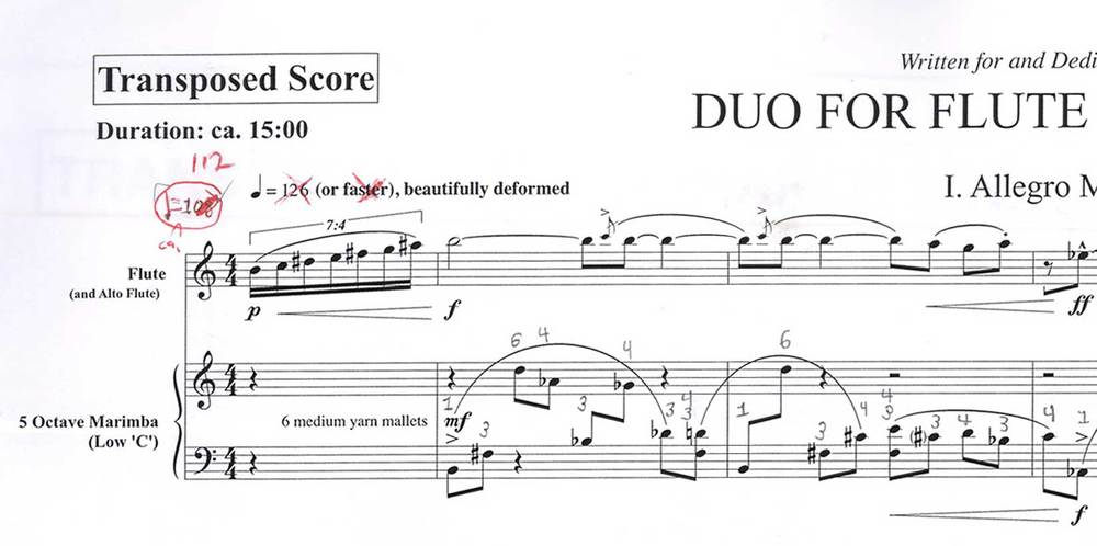 Duo for Flute and Marimba - Excerpt
