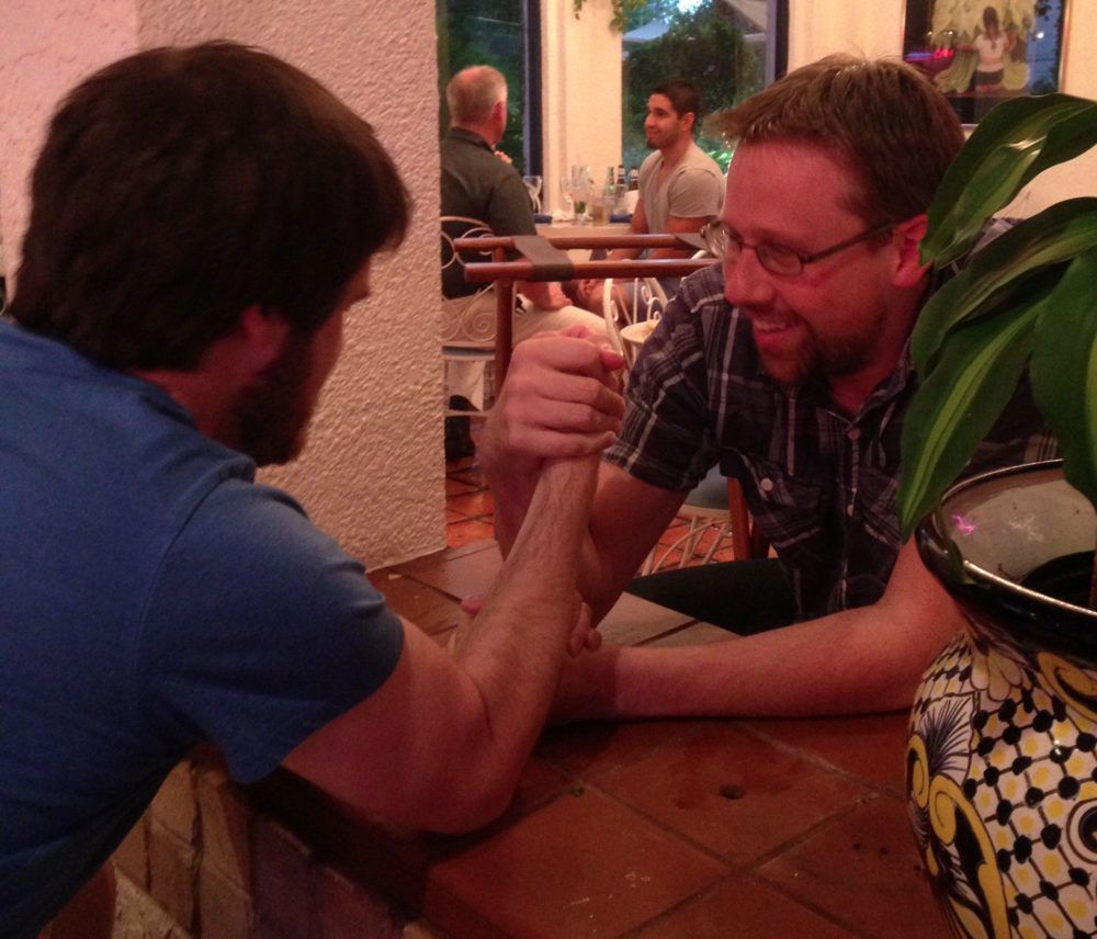 Mr. Sluder and Mr. Ross arm wrestling...