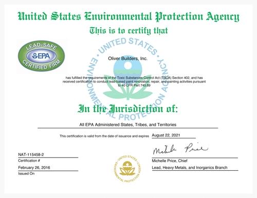 EPA certification letter