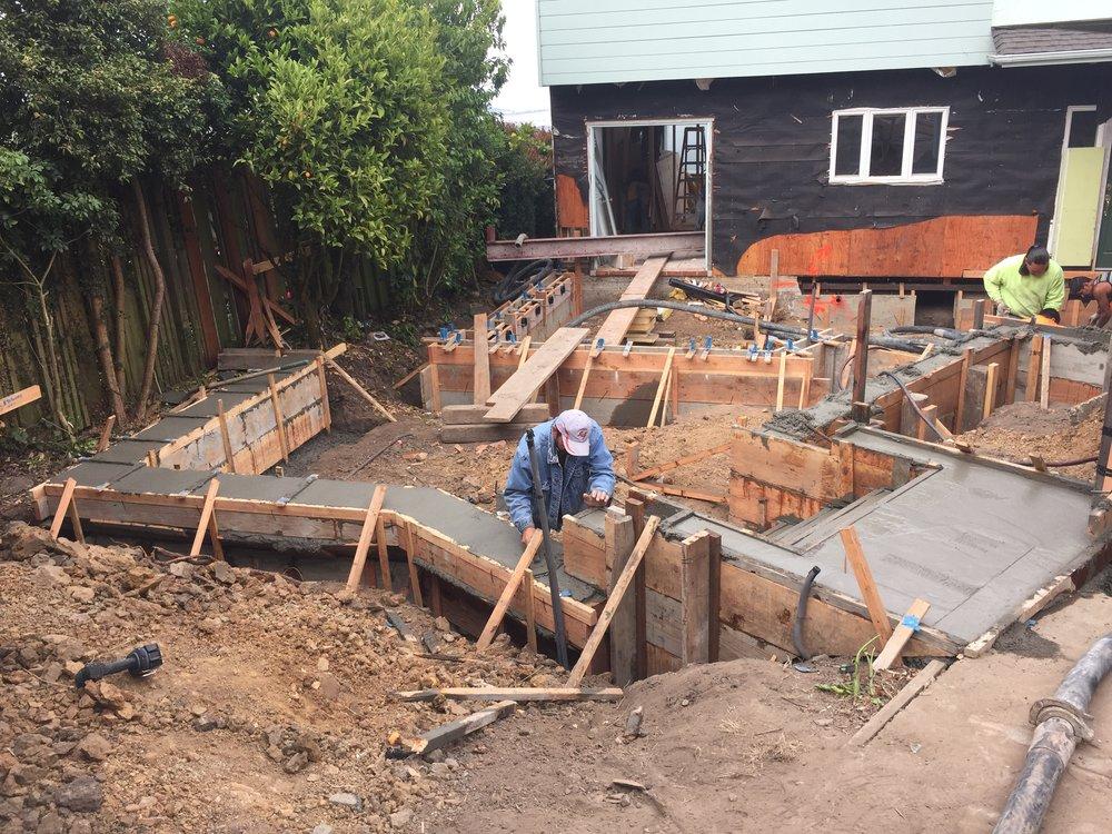 Concrete pour just about done.
