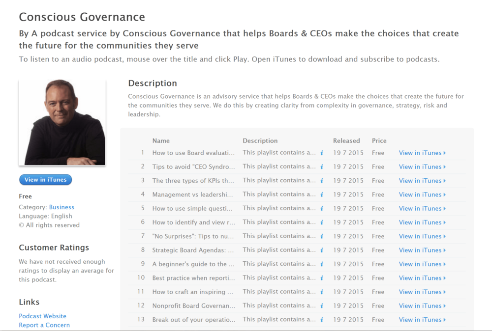 Conscious Governance Now on iTunes