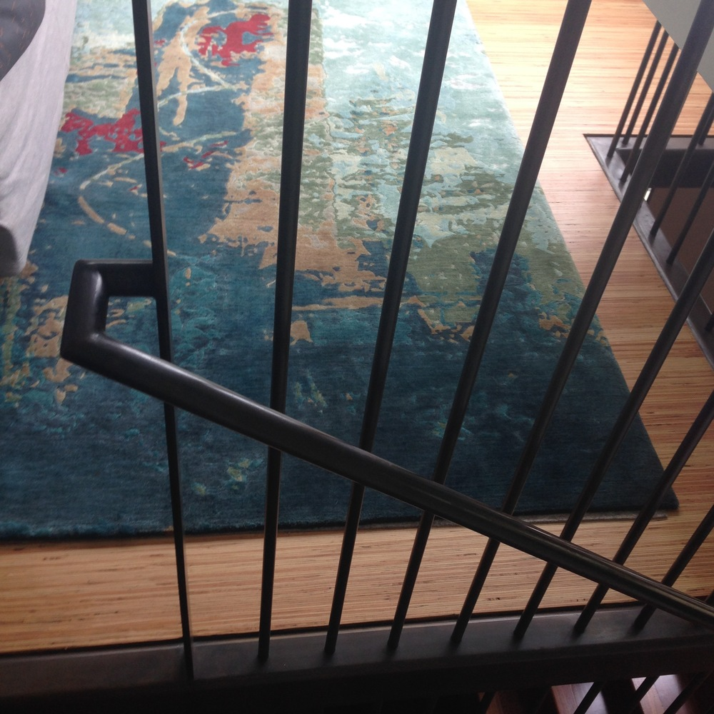 Blackened steel railing