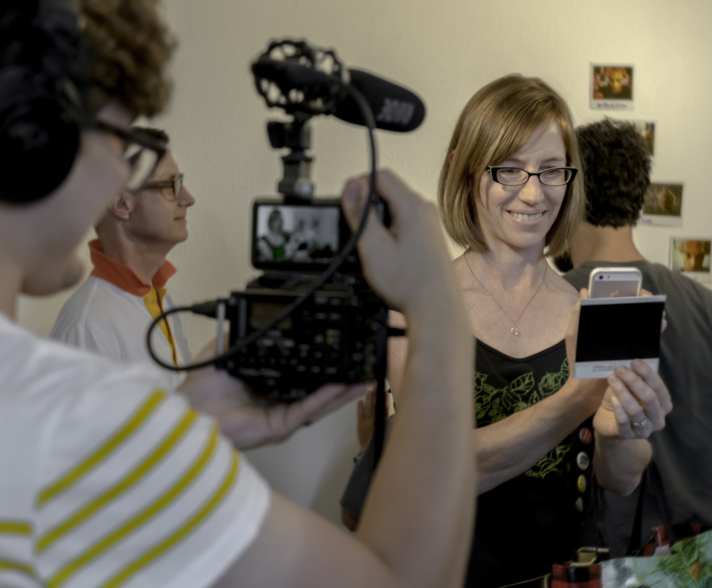 "Another privacy event: A recent workshop about selfies allowed visitors to use vintage Polaroid cameras to create ""selfies"" based on given instructions, and share them online and on a wall in TPR"