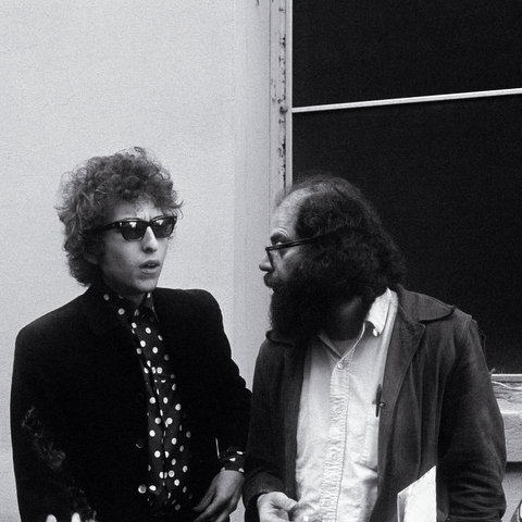 Bob Dylan & Allen Ginsberg (Photograph by Dale Smith)