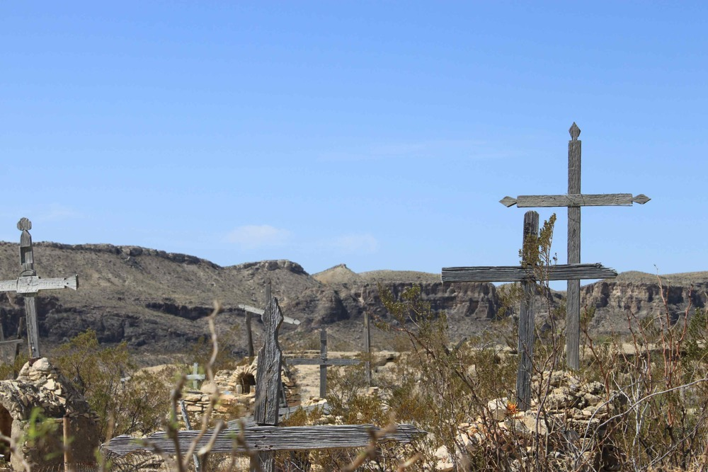 A graveyard in a ghost town