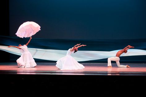 Alvin Ailey American Dance Theater's Renee Robinson Constance Stamatiou and Matthew Rushing in Alvin Ailey's Revelations. Photo by Christopher Duggan.