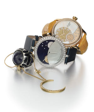 "Sign of the Times The sun, moon and stars may light up the sky, but these celestial-like luminaries are a bit more attainable. Van Cleef & Arpels's dreamy watch plays with the duality of day and night, employing discs of sapphires and diamonds that rotate under a smooth mother-of-pearl earth as time ticks by. The summer sun influences Glashütte Original's diamond-encircled gold timepiece on an alligator band, while Me&Ro creates its own mini constellation with an 18-karat yellow gold crescent moon and star necklace. And Stephen Webster's silver and blue goldstone ring, derived, he says, from ""biker stud work, gothic stained-glass windows and glam-punk style,"" is absolutely heavenly  From left: Me&Ro's 18k yellow gold and diamond necklace, Stephen Webster's silver and blue goldstone ring, Van Cleef & Arpels's 18k white gold and diamond watch with aventurine and mother-of-pearl dial and satin band, Glashütte Original's 18k rose gold and diamond watch."