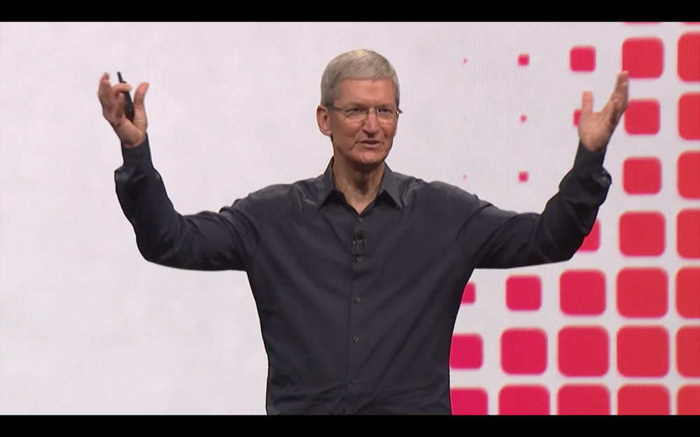 CEO Tim Cook onstage at the 2014 World Wide Developer's Conference