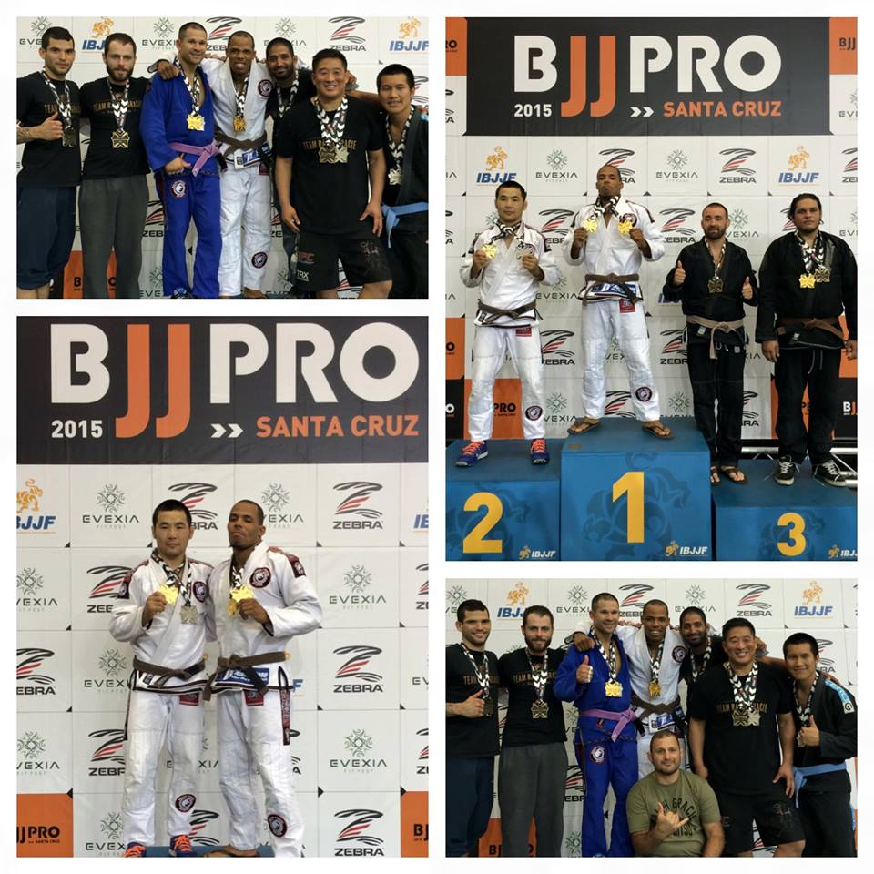 Ralph Gracie Brown Belt Ahmed White taking home gold at BJJPRO 2015 Santa Cruz. Brown Belt Master Division Champ.