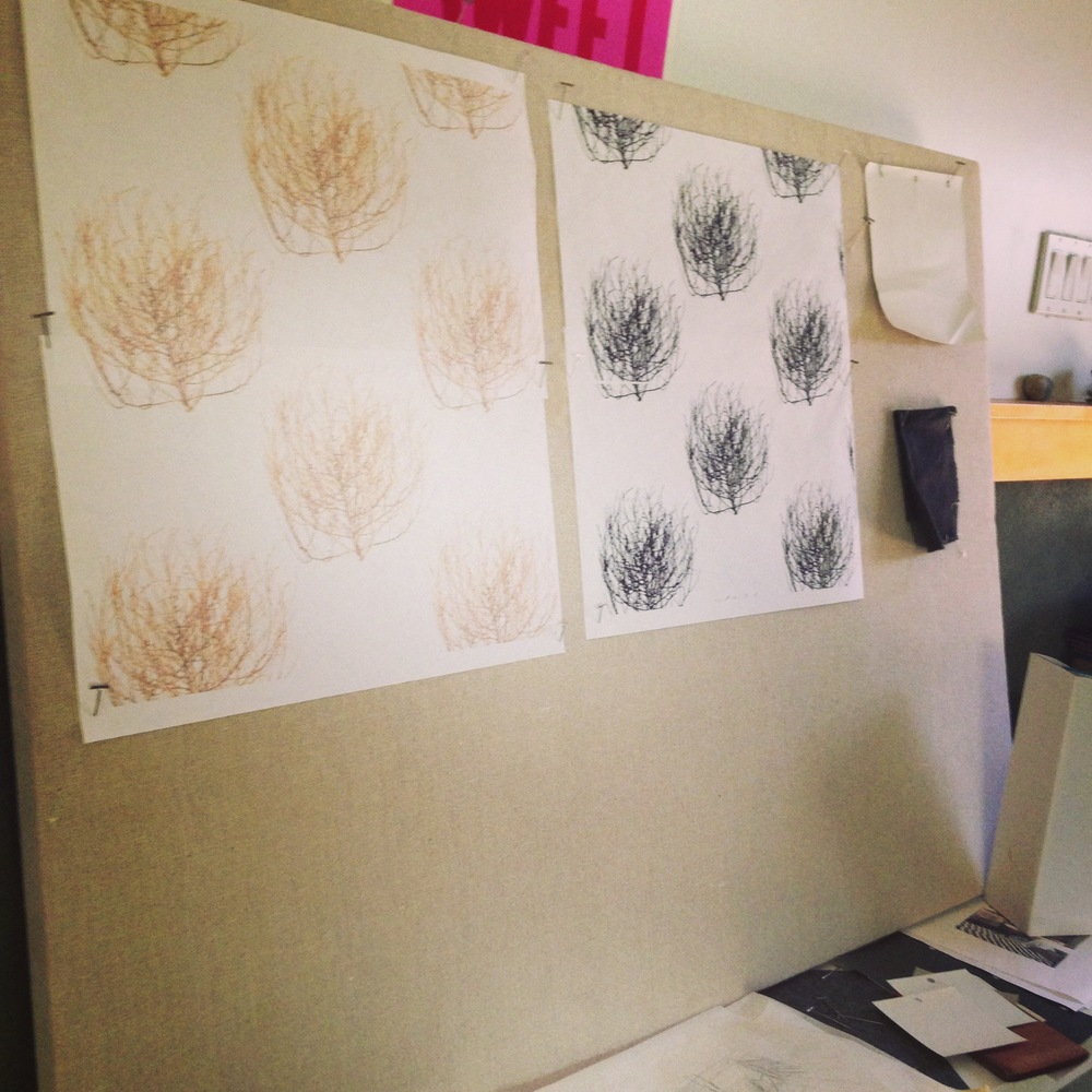 A mock-up in our studio of possible layouts of the tumbleweed wallpaper at a small scale in full color and black and white