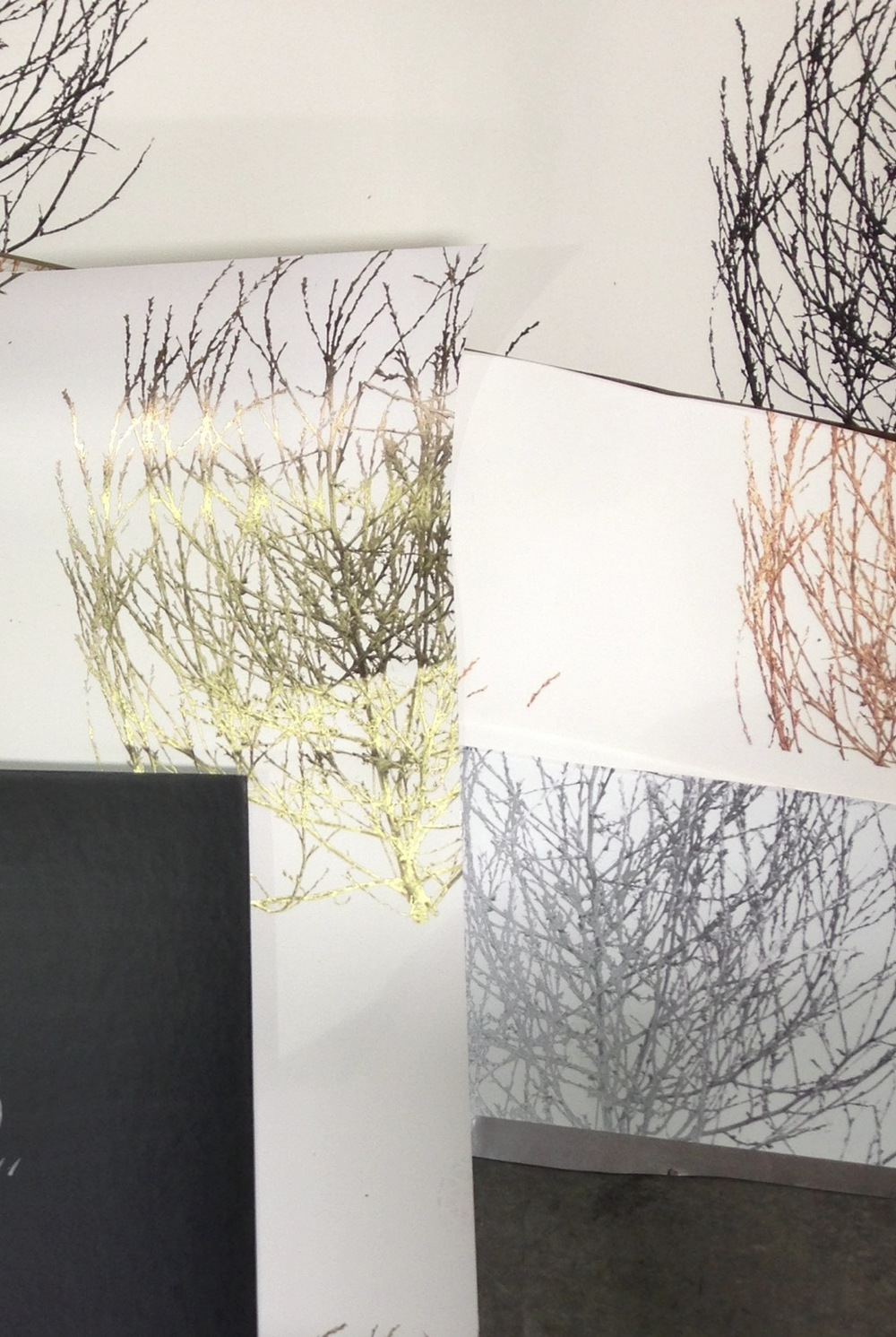 Here are samples of the Tumbleweed Wallpaper in the different color options, soon to be available for purchase.