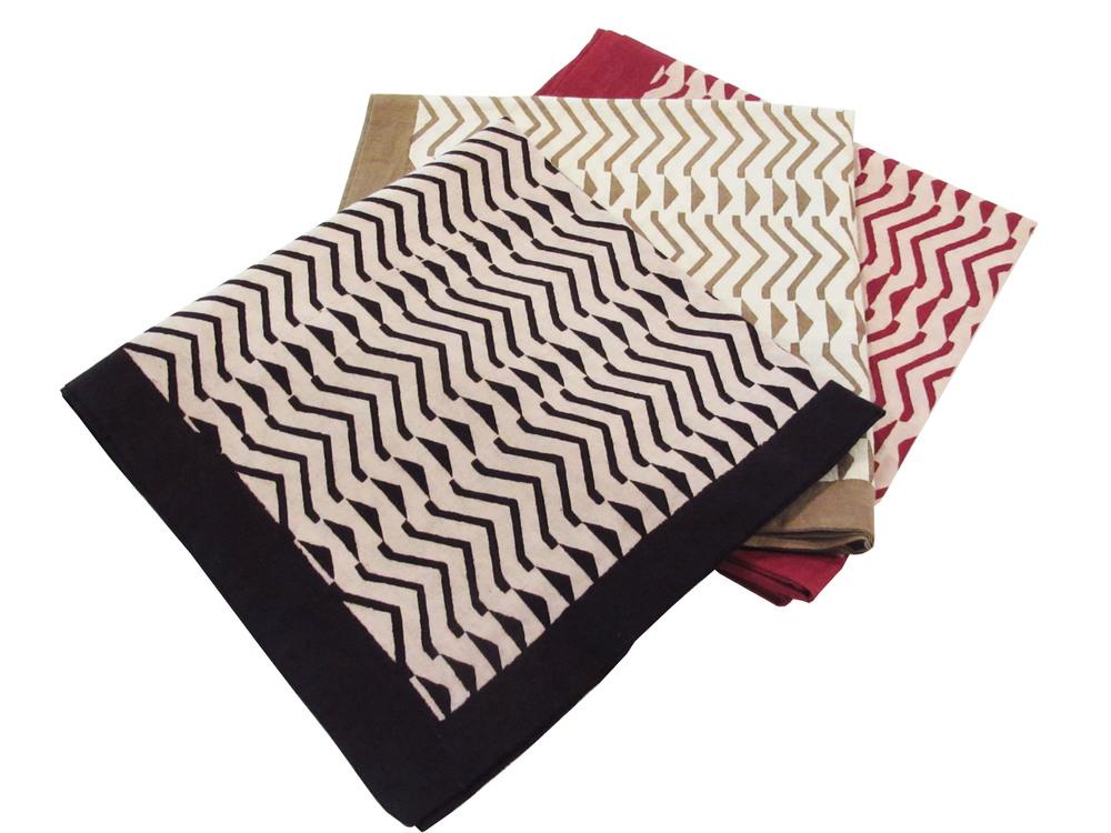 "Zigzag, black, maroon and ochre print H-CUS-BG-P1-ZG-BLK/MRN/OCR 18"" Square"
