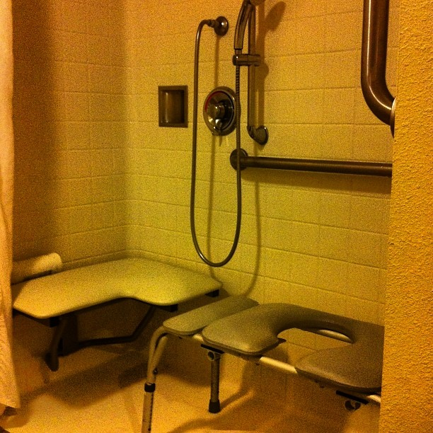 Bathroom tip: a roll in shower is the safest if you are transferring.