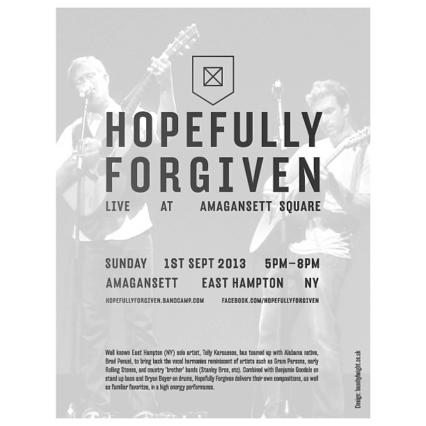 Live outdoor performance by local musicians Hopefully Forgiven today at #amagansettsquare. 5pm - 8pm.  Country 'Brother' Band jams reminiscent of Gram Parsons, early Stones, Stanley Bros, etc....Hopefully Weather Permitting.