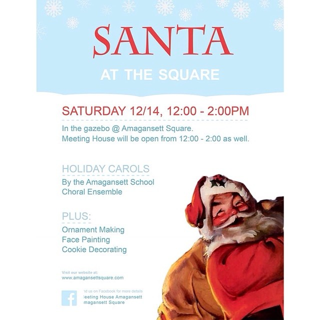 Santa Clause IS coming to town.  Bring the kids to visit Santa at The Square.  Tomorrow (Saturday) from noon to 2.  Plenty of good times to be had.  Holiday Carols. Ornament Making. Face Painting. Cookie Decorating and more.  Meeting House will be open too serving lunch.  Happy Holidays from the Amagansett Square.  @meeting_house @loveadorned @pilgrimsurfsupply @imageryhamptons @stirbrew @hamptonchutney #hamptonschristmas #amagansett