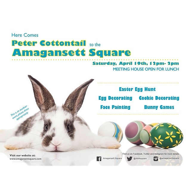 Please join this Saturday, April 19th for the annual Easter Egg Hunt at the Amagansett Square. Time 12pm-2pm.  @meeting_house will be serving lunch.  #amagansettsquare #amagansett #easter #hamptons #hamptonseaster #hamptonsspring #easteregghunt