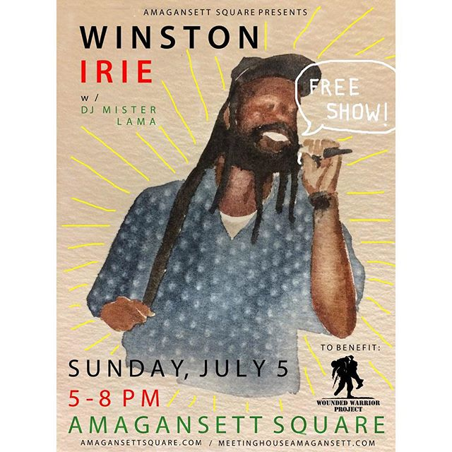 Happy 4th !!! Free Winston Irie outdoor concert tomorrow, Sunday-July 5th at the Amagansett Square.  5pm-8pm.  Meeting House food and drink to go.  DJ Mister Lama spinning as well. @meeting_house @loveadorned @pilgrimsurfsupply @hamptonchutneyco @jacksstirbrew @sylvesterandco @rubeamagansett @miankoma #amagansett #reggaemusic #hamptons #hamptonslife #hamptonsevents #livemusic #montauk #easthampton #summer2015 #fourthofjuly #4thofjuly