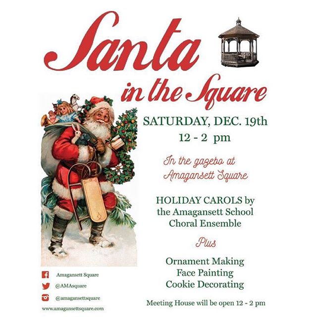 Santa at the Square. Today between 12-2pm in the Gazebo. Many fun spirited activities for the family to enjoy.  @meeting_house will open as well. #amagansettsquare #amagansett #happyholidays #santa #hamptons.