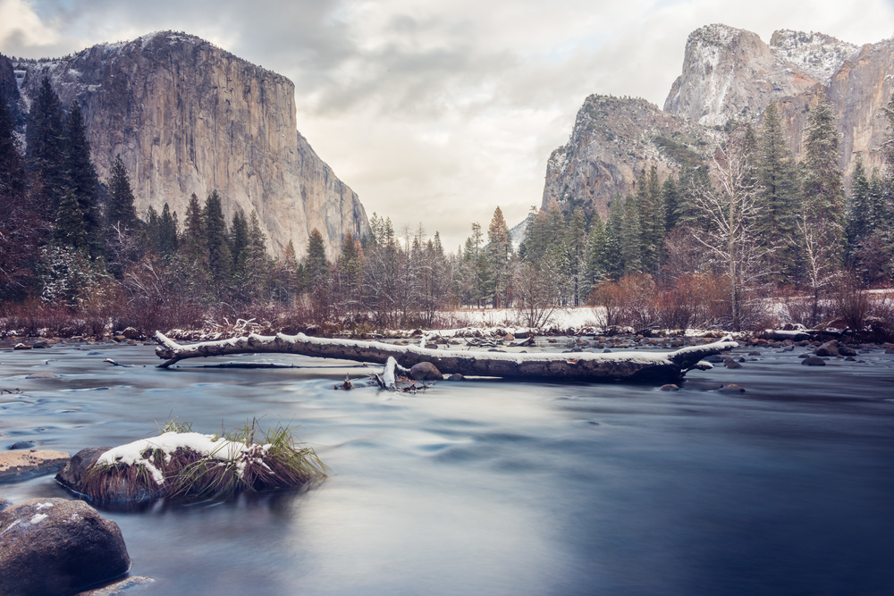 """Featured in Flickr's Explore section, this shot was taken the day after Thanksgiving in Yosemite National Park. This is the famous """"Gates of the Valley"""" view."""