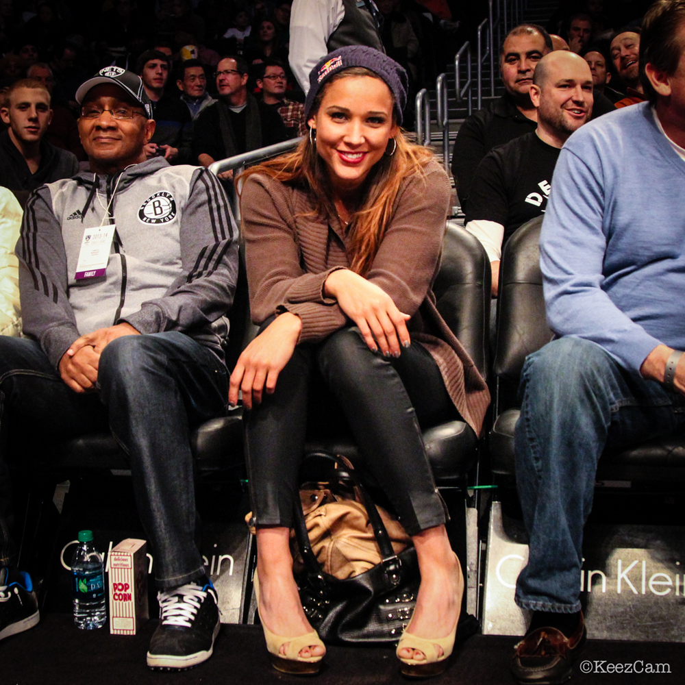 World Class Track & Field and Bobsled athlete lolo Jones Courtside in Brooklyn