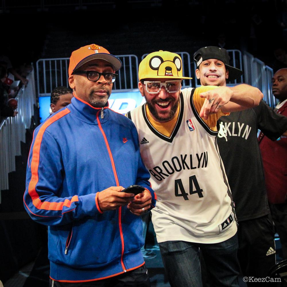 Brooklyn Nets Fan Jeffrey Gamblero welcomes Spike Lee
