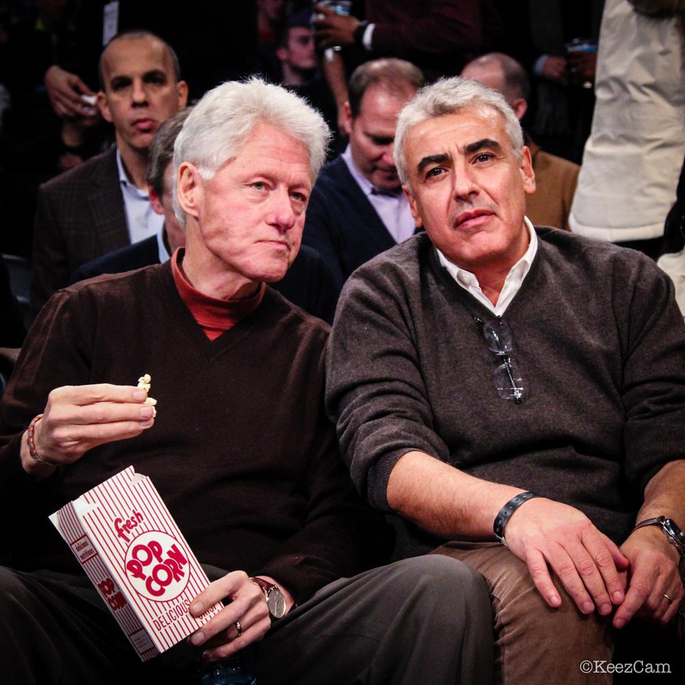 Former United States President Bill Clinton courtside in Brooklyn