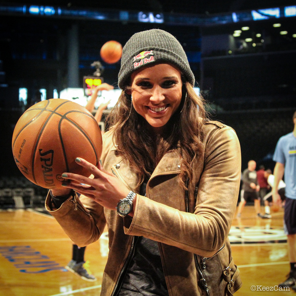 Olympian Lolo Jones poses for the Keezcam at Barclays Center.