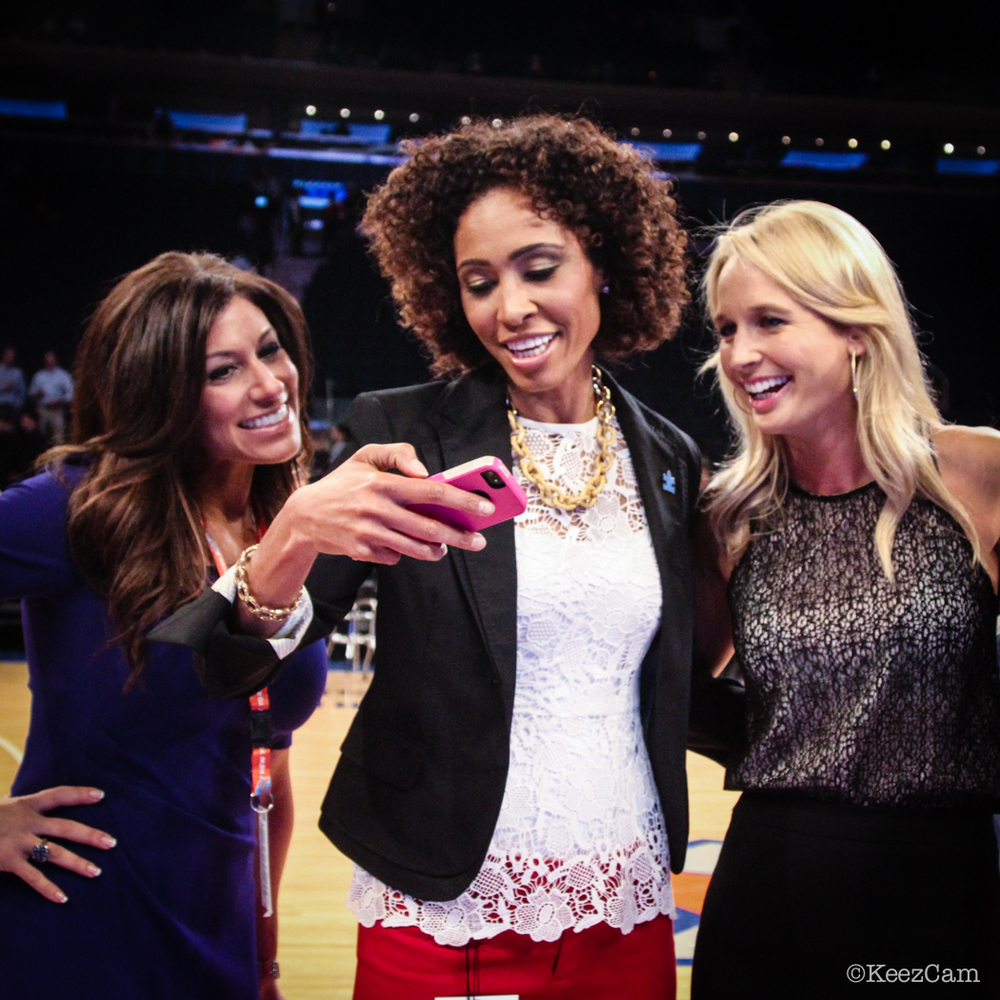 Tina Cervasio, Sage Steele & Sara Kustok giving the Keezcam the photo approval at MSG