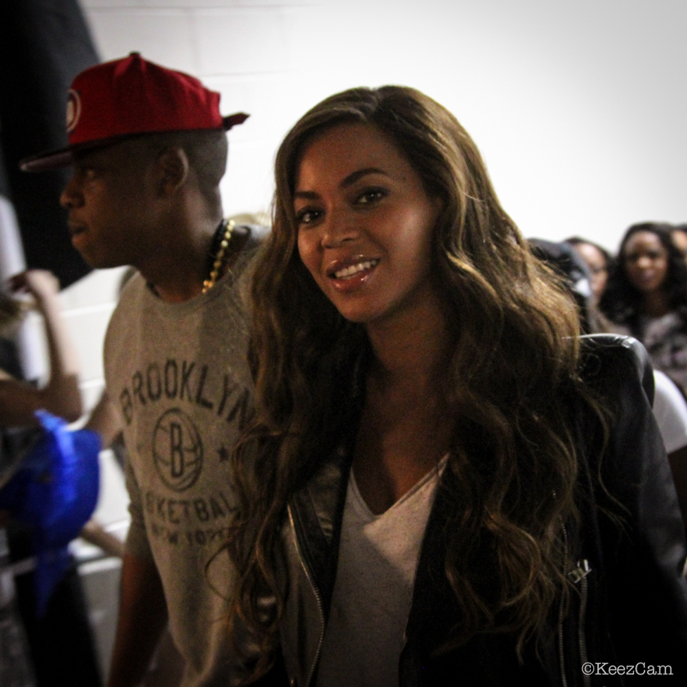 Beyonce smiles for the Keezcam before game 6 in Brooklyn