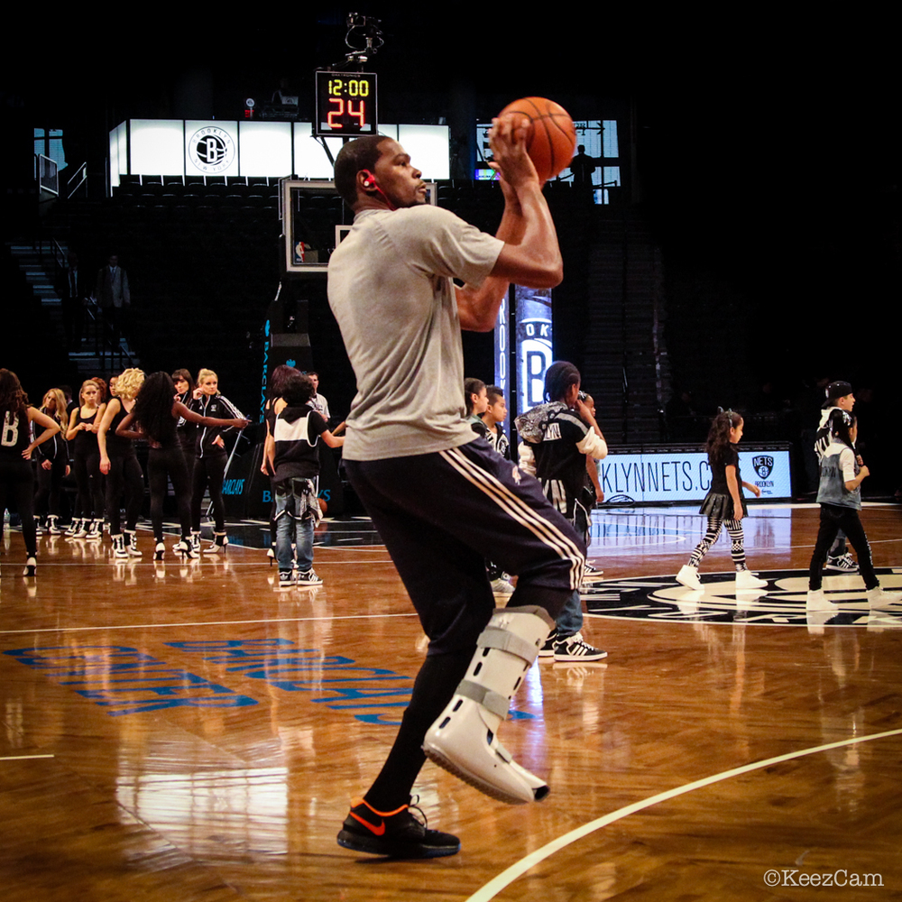 OKC Thunder F Kevin Durant shooting off the good foot in Brooklyn.