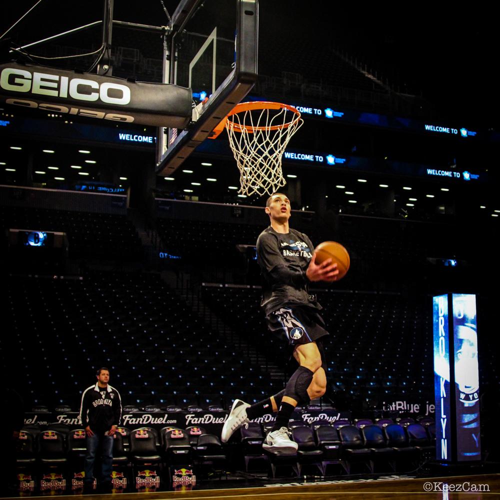 Minnesota Timberwolves G Zach LaVine takes flight in Brooklyn.