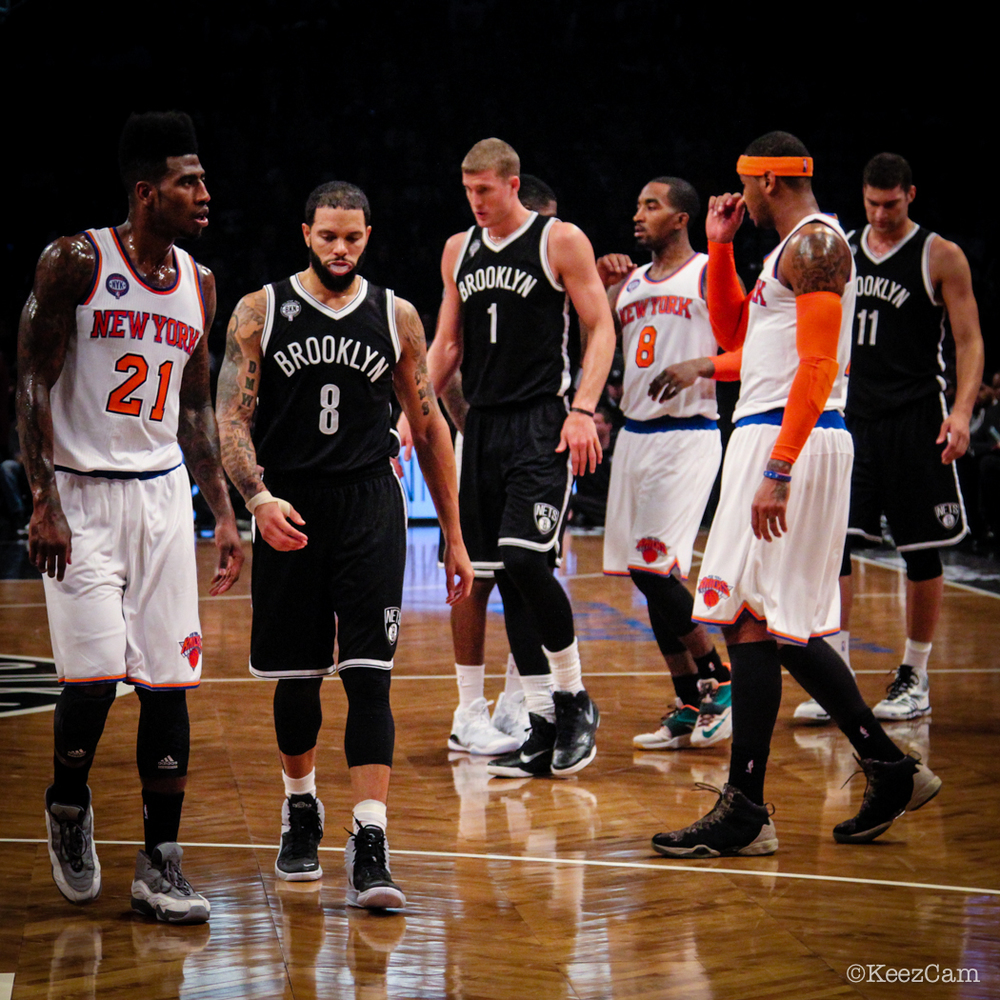 Iman Shumpert, Deron Williams, Mason Plumlee, J.R. Smith, Brook Lopez & Carmelo Anthony