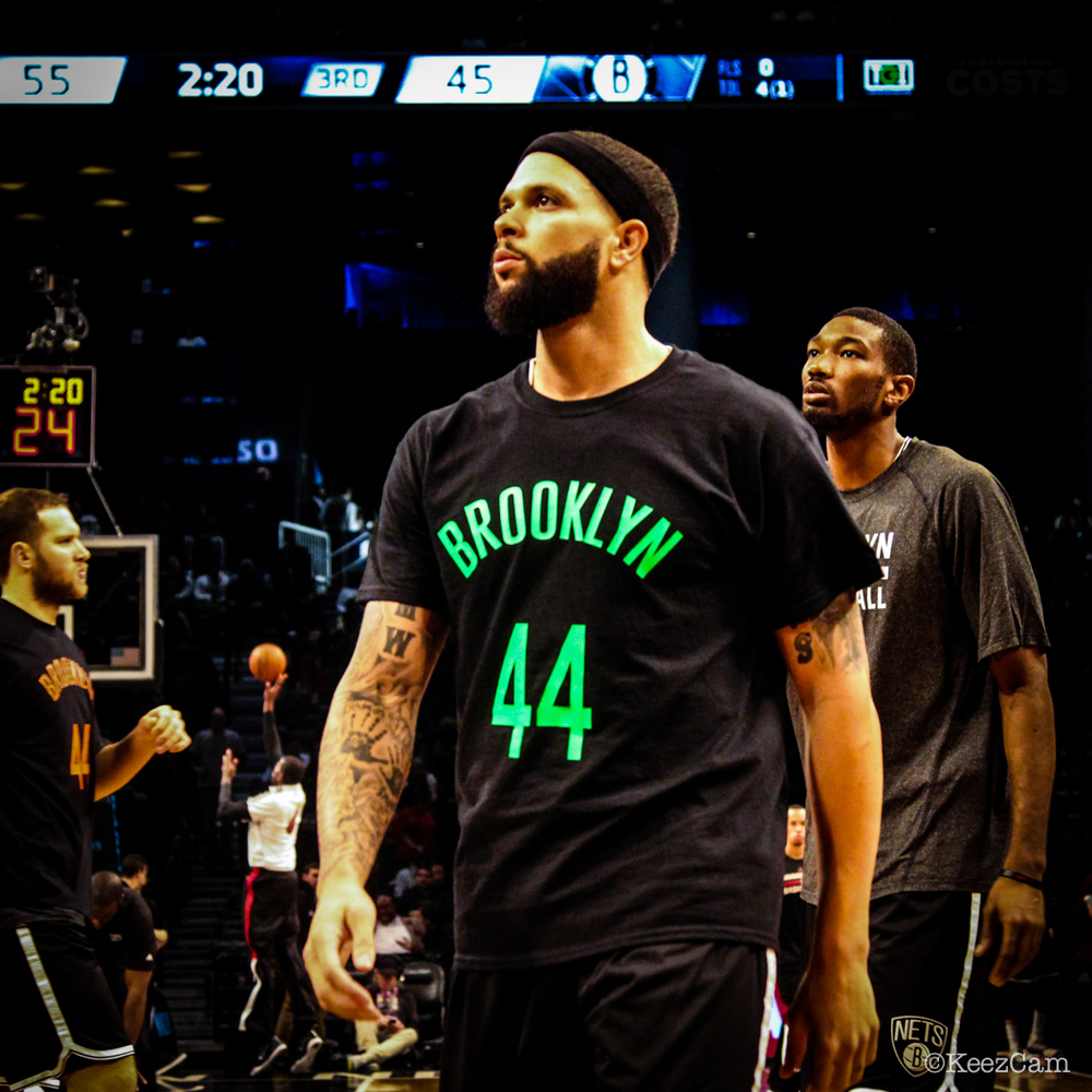 "Brooklyn Nets General Deron Williams wore this shirt in memory of Brooklyn Nets ""Super Fan"" Jeffrey Gamblero"