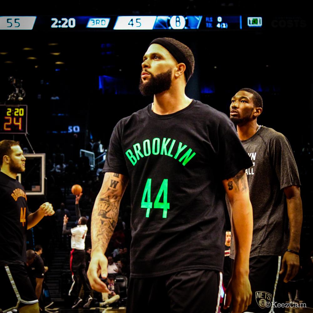 "Brooklyn Nets General Deron Williams wore this shirt in memory of Brooklyn Nets ""Super Fan"" Jeffrey Gamblero"