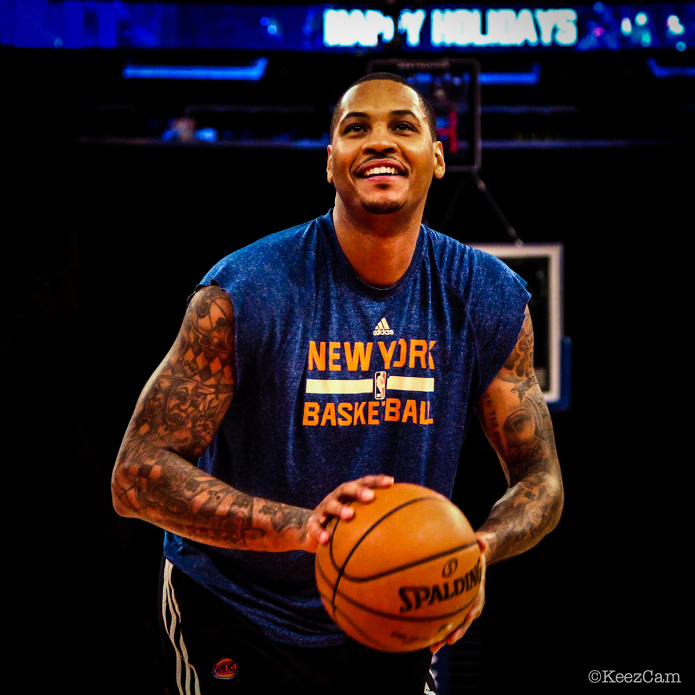 New York Knicks F Carmelo Anthony giving it a go for the matinee vs. Phoenix Suns at Madison Square Garden