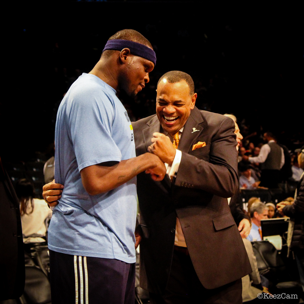 Zach Randolph & Lionel Hollins share a good laugh in Brooklyn