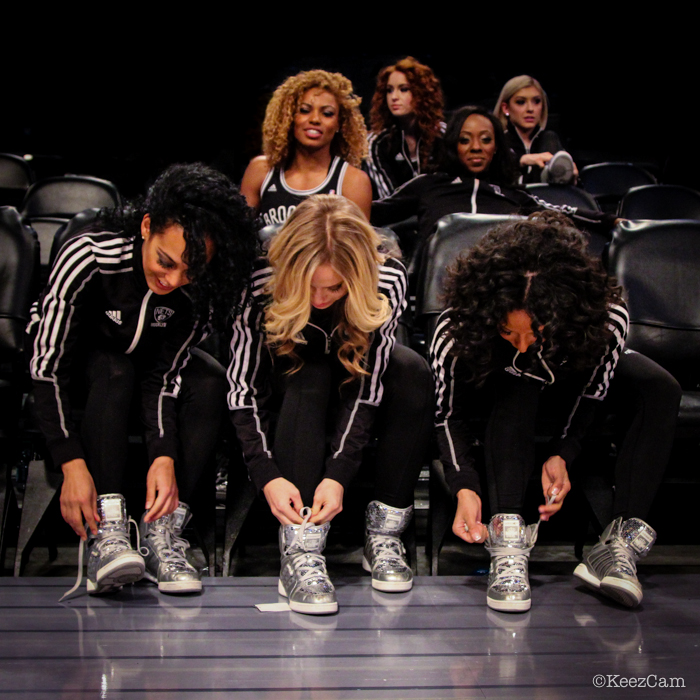 The Brooklynettes lacing up the kicks for the start of All-Star Weekend in Brooklyn