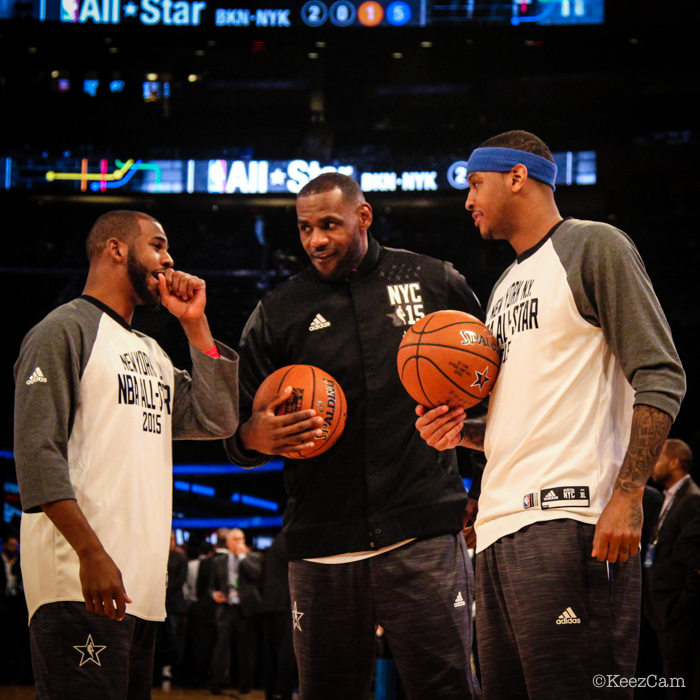 Chris Paul, LeBron James & Carmelo Anthony pre-game last night at Madison Square Garden